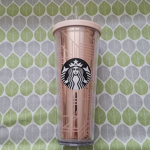 Gently Used Starbucks Rose Gold Geo Lines 24 oz
